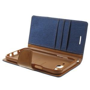 Luxury textilní/pu kožené pouzdro na Samsung Galaxy J5 - modré - 5