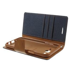 Luxury textilní/pu kožené pouzdro na Samsung Galaxy J5 - tmavěmodré - 5