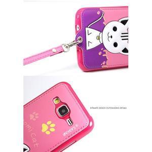 Gelový obal s kočičkou Domi s koženkovými zády na Samsung Galaxy J5 - rose - 5