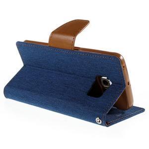 Luxury textilní/koženkové pouzdro pro Samsung Galaxy S6 Edge - modré - 5