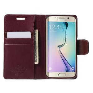 Wallet PU kožené pouzdro na Samsung Galaxy S6 Edge G925 - vínové - 5