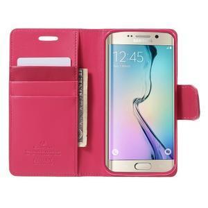 Wallet PU kožené pouzdro na Samsung Galaxy S6 Edge G925 - rose - 5