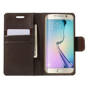 Wallet PU kožené pouzdro na Samsung Galaxy S6 Edge G925 - tmavěhnědé - 5