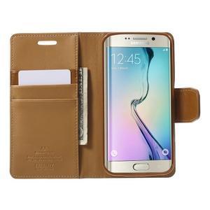 Wallet PU kožené pouzdro na Samsung Galaxy S6 Edge G925 - hnědé - 5