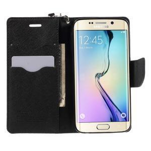 Diary PU kožené pouzdro na Samsung Galaxy S6 Edge - černé - 5