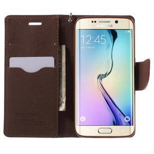 Diary PU kožené pouzdro na Samsung Galaxy S6 Edge - černé/hnědé - 5