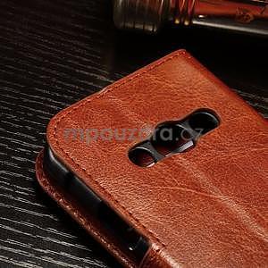 Koženkové peněženkové pouzdro na Samsung Galaxy Xcover 3 - hnědé - 5