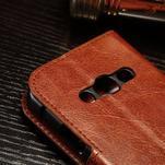 Koženkové peněženkové pouzdro na Samsung Galaxy Xcover 3 - hnědé - 5/7