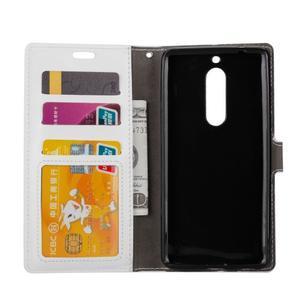 Wallet PU kožené knížkové pouzdro na Nokia 5 - bílé - 5