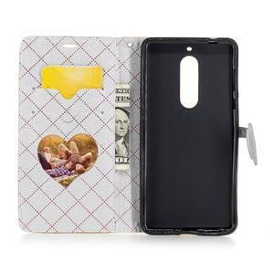 Hearts PU kožené pouzdro na Nokia 5 - zlaté - 5