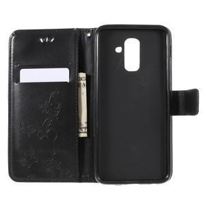 Butterfly PU kožené pouzdro na Samsung Galaxy A6 Plus - černé - 5
