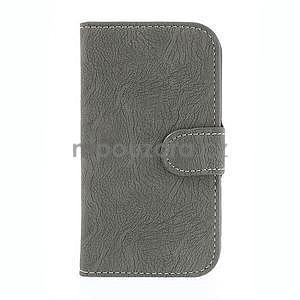 PU kožené peněženkové pouzdro na Samsung Galaxy S4 - šedé - 5