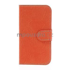 PU kožené peněženkové pouzdro na Samsung Galaxy S4 - oranžové - 5