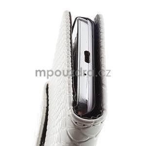 PU kožené peněženkové pouzdro s hadím motivem na Samsung Galaxy S4 - bílé - 5