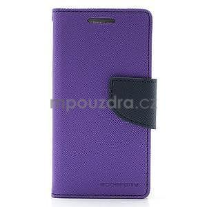 PU kožené peněženkové pouzdro na Samsung Galaxy S4 mini - fialové - 5
