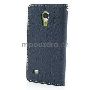 PU kožené peněženkové pouzdro na Samsung Galaxy S4 mini - tmavě modré - 5