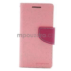 PU kožené peněženkové pouzdro na Samsung Galaxy S4 mini - růžové - 5