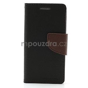PU kožené peněženkové pouzdro na Samsung Galaxy S4 mini - hnědé/černé - 5