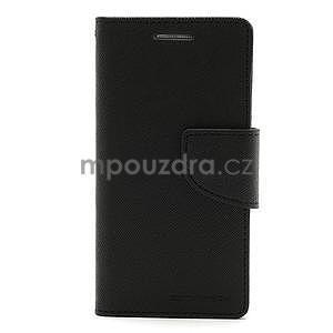 PU kožené peněženkové pouzdro na Samsung Galaxy S4 mini - černé - 5