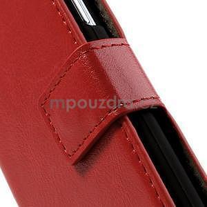 Peněženkové PU kožené pouzdro na Samsung Galaxy S4 mini - červené - 5