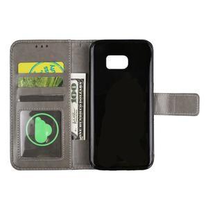 Mandala PU kožené pouzdro na Samsung Galaxy S7 Edge - šedé - 5