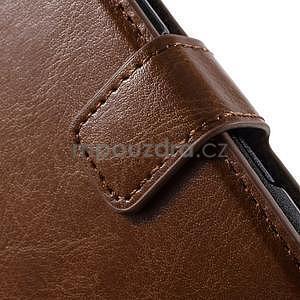 PU kožené peněženkové pouzdro na mobil Sony Xperia E4 - hnědé - 5