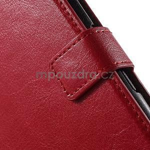 PU kožené peněženkové pouzdro na mobil Sony Xperia E4 - červené - 5