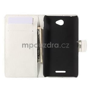 Peněženkové pouzdro s motýlkem na Sony Xperia E4 - bílé - 5