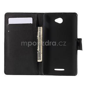 Peněženkové pouzdro s motýlkem na Sony Xperia E4 - černé - 5