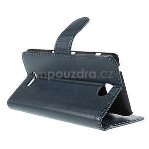 Peněženkové PU kožené pouzdro na Sony Experia E4 - tmavě modré - 5