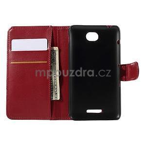 Peněženkové PU kožené pouzdro na Sony Experia E4 - červené - 5