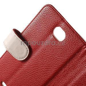 Koženkové pouzdro pro Sony Xperia E4 - červené - 5