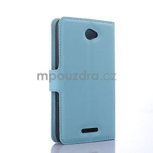 PU kožené peněženkové pouzdro na mobil Sony Xperia E4 - světle modé - 5