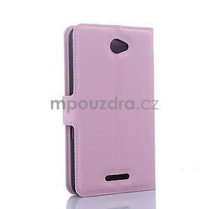 PU kožené peněženkové pouzdro na mobil Sony Xperia E4 - růžové - 5