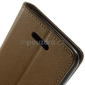 PU kožené peněženkové pouzdro na Sony Xperia E4 - hnědé - 5