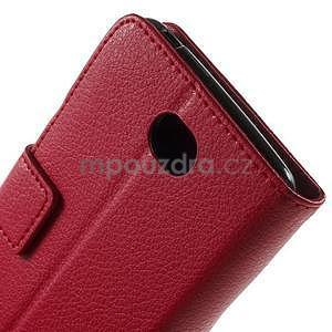PU kožené peněženkové pouzdro na Sony Xperia E4 - červené - 5