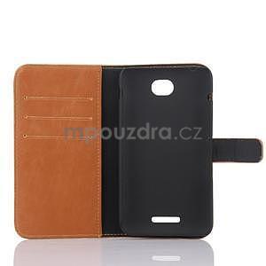 PU kožené PU peněženkové pouzdro na Sony Xperia E4 - hnědé - 5
