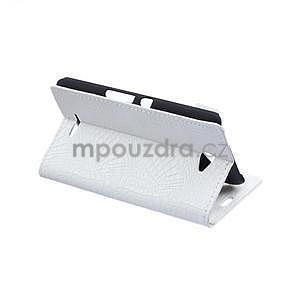Pouzdro s krokodýlím vzorem na Sony Xperia E4 - bílé - 5
