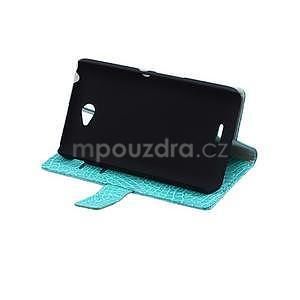Pouzdro s krokodýlím vzorem na Sony Xperia E4 - tyrkysové - 5