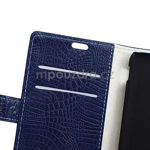 Pouzdro s krokodýlím vzorem na Sony Xperia E4 - tmavě modré - 5
