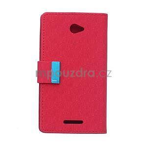 Vzorované pěněženkové pouzdro na Sony Xperia E4 - červené - 5