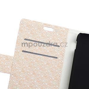 Vzorované pěněženkové pouzdro na Sony Xperia E4 - béžové - 5