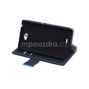 Vzorované pěněženkové pouzdro na Sony Xperia E4 - tmavě modré - 5