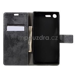 Vintage PU kožené pouzdro na mobil Sony Xperia XZ Premium - šedé - 5