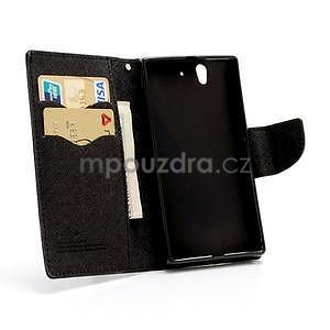 Peněženkové PU kožené pouzdro na Sony Xperia Z - černé - 5