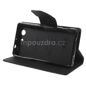 PU kožené peněženkové pouzdro na Sony Z3 Compact - černé - 5