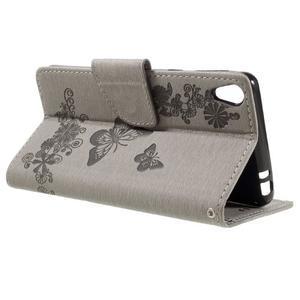 Butterfly PU kožené pouzdro na Sony Xperia E5 - šedé - 5