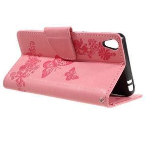 Butterfly PU kožené pouzdro na Sony Xperia E5 - růžové - 5