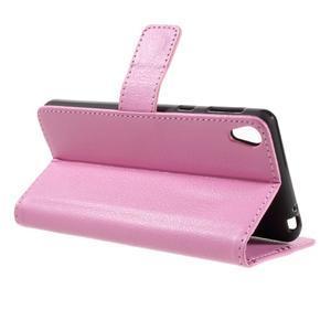 Leathy PU kožené pouzdro na Sony Xperia E5 - růžové - 5