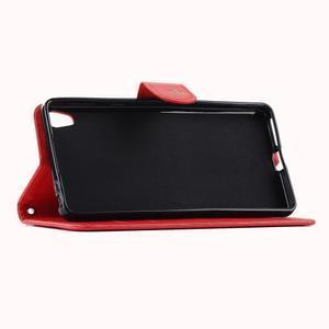 Motýlkové PU kožené pouzdro na mobil Sony Xperia E5 - červené - 5